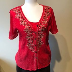 Coral Button Down Blouse Gently Used